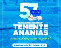 Confira a programação completa em alusão aos 57 anos de Emancipação Política de Tenente Ananias.